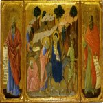 Duccio di Buoninsegna (c. 1255-1260  c. 1318-1319)  Maesta Altarpiece: Dream of Saint Joseph and Flight into Egypt  Gold and tempera on panel, about 1308-1311  42.5 x 44 cm  Museo dellOpera del Duomo, Siena, Italy